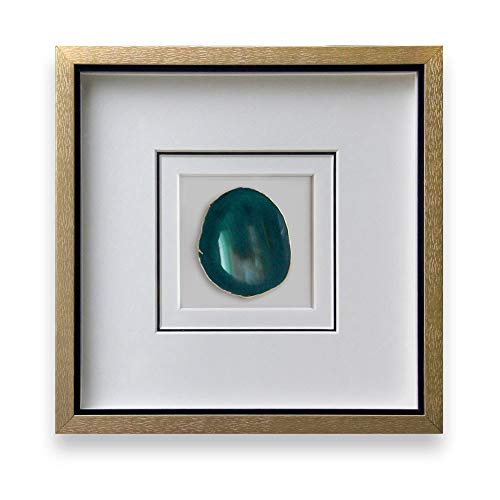 Handmade 40x40cm Gold Edge Agate Stone Wall Art with Shadow Box Framed Front Glass for Modern Living Room Bedroom Wall Decor (Teal) (Framed Wall Glass Art)