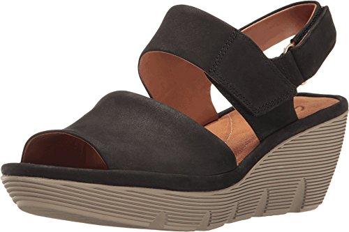 Black Platform Allure Shoes - CLARKS Women's Clarene Allure Black Nubuck Sandal