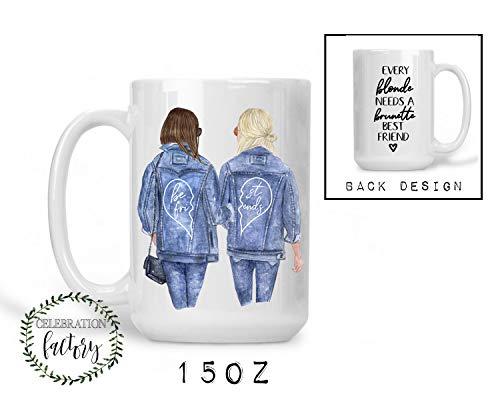 BFF Blonde and Brunette Mug   Denim Jacket Portriat   Gift Long Distance Best Friends  15oz Big Size   Microwave Safe   Dishwasher Safe