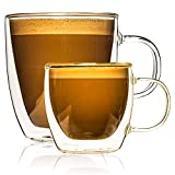 Double Wall Insulated Glass Coffee Mugs Set of 2 with Large 14oz and Small 4.5oz. With Handles for Espresso, Tea, Cappuccino, Hot Chocolate. Durable, Safe, Professionally Packed