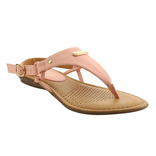 ANGELINA FI25 Women's T-strap Slingback Thong Style Wedge Sandals, Color:PINK, (Leather Wedge Thong Sandals)