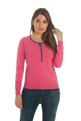 Adorawool - Womens Henley Sweater - Crewneck Pullover - Luxury Silk & Cotton - Button Down - Fuschia Pink & Aegean Blue Trim - Size Medium