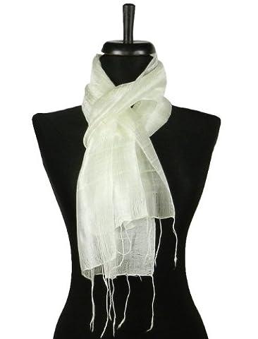 Thai Natural White Hand Craft Pure Raw Silk Fabric Scarf Small Shawl Thailand - Thai Natural
