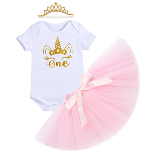 Crown Skirt - 1st Birthday Outfit Baby Girls Unicorn Bodysuit Short/Flutter Sleeve Romper + Ruffle Tulle Skirt + Crown Headband Cake Smash Dresses up Party Clothes 3Pcs Set Photo Props White 6-12 Months