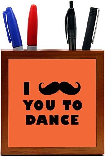 Rikki Knight I Mustache You To Dance Orange Color Design 5-Inch Tile Wooden Tile Pen Holder (RK-PH42955) by Rikki Knight