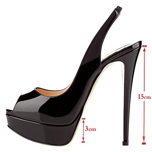 Merumote Vrouwen Slingbacks Peep Toe Hoge Hakken Schoenen Platform Pompen Zwart