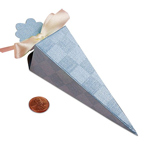 Blue Embossed Cone Favors | Quantity: 25 | Width: 1 1/2