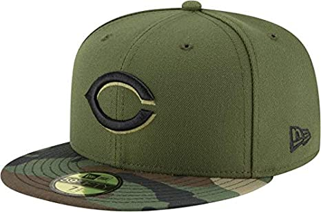info for 36e75 e8a96 New Era Men s Hat Cincinnati Reds Authentic Green Camo Fitted Cap 70413904  (6 ...