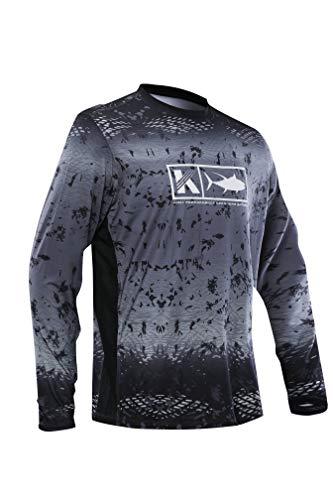 eb52f4db Men's Performance Vented Fishing Shirt Long Sleeve Shirt Mesh Side Vents UPF  50 Dye Sublimation Print Grey