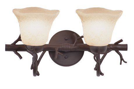 Kalco 3522BA/1350 Vine - Two Light Bath Vanity, Glass Options: 1350: Waterfall d: 6.5 h: 5.25