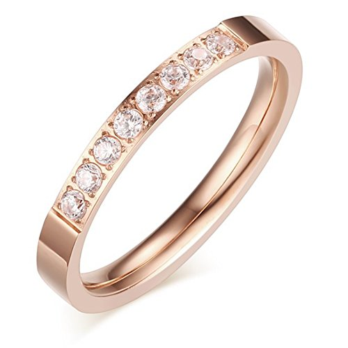 Chryssa Women 2mm Luxury Titanium Stainless Steel Cubic Zirconia CZ Inlay Rose Gold Ring Wedding Engagement Band Size 5-8 (SZZ-27) (Rose Gold, Size 5)