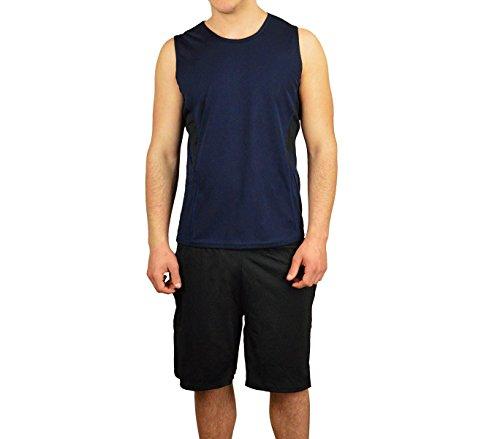 Completo sportivo da uomo modello TECHNICOLOR canotta e pantaloncini. MEDIA WAVE store ® (L/XL, Blu e Nero)