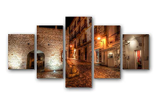 GLITZFAS PRINTS 5 Panel Wall Art Painting - Spain Ibiza Lights nightr - Canvas Stretched with Wooden Frame for Home Decor (12