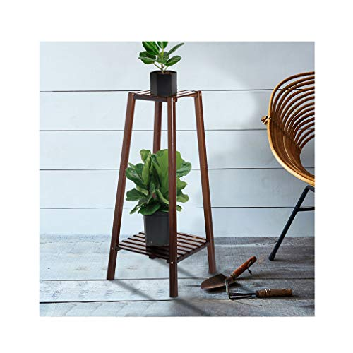 Lebeauty Plant Stand 2-Tier Bamboo Planter Rack Flower Pots Holder Disply Rack US Stock Tall Plant Stand Pot Holder Small Space Table for Home Office 12.6x12.6x29.5inch (Stand Plant Tall)