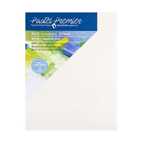 Pastel Premier Sanded Pastel Paper Conservation Panel, Fine Grit, 9X12 inches, White, 1 Package of 2 Panels by Handbook Paper
