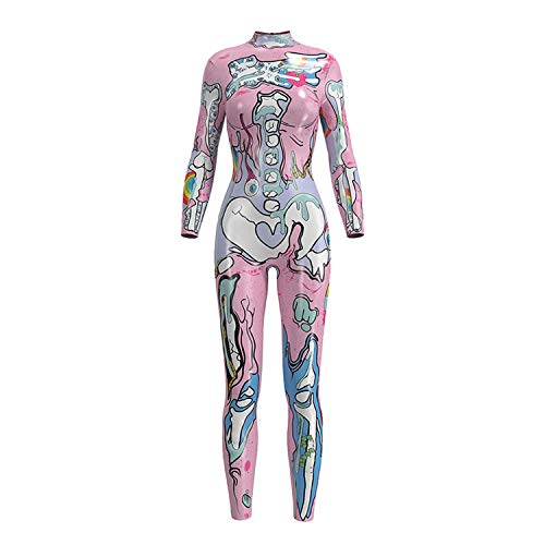 Women Fashion Sexy Coverall Elastic Long Sleeves Skeleton