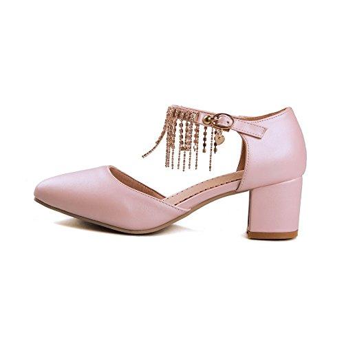 Pink Spitze PU Damen Schnalle Zehensandalen Kitten Heels AgooLar Solid 781qa