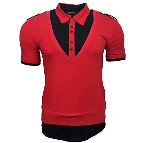Print Druck T-Shirt Herren Knopf Kurzarm Gelb Weiß Grün Rot Neu A13191, Größe:L, Farbe:Rot / Schwarz