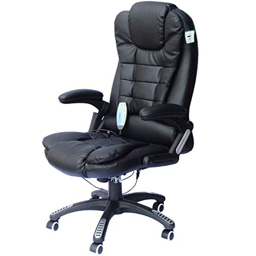Black Heated Vibrating Ergonomic Office Massage Chair Executive Desk Seat w/Remote Control with Ebook