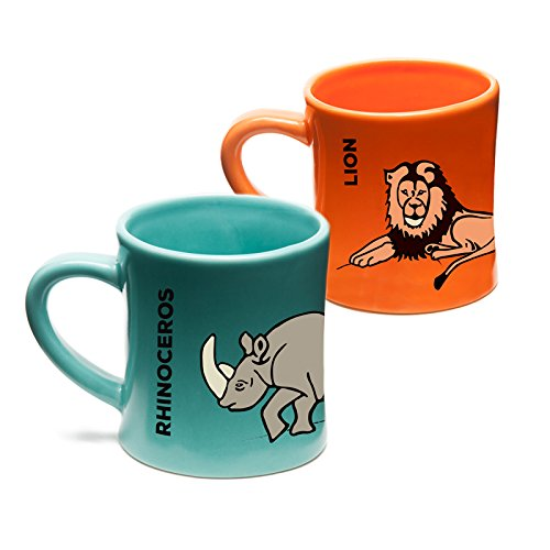 Wildini BittyMugs Lion/Rhinoceros - Kid Sized Mugs, 4oz Ceramic, BPA Free, Waldorf Preschool Mug, Kids Cup, Animal Mug Set, Hot Chocolate Mug, Milk Mug, Espresso Mug, Gift for Kids, for Small Hands