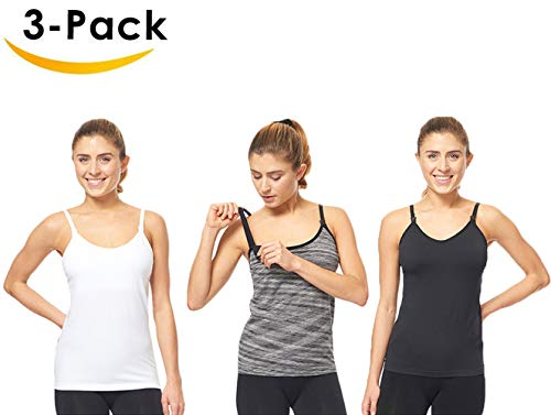 3 Pack 3 Style Clip-down Double Opening Maternity Nursing Tank Top and Cami Shirts Clothes For Mother's Breast Feeding, Multi (3 Pack-Large Size) by Under Control (Image #4)