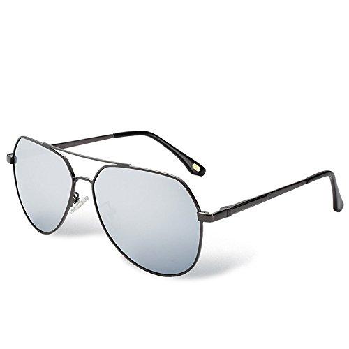 en gafas UV TL Hombre Silver metal polarizadas sol de aviador Mujer plateado400 piloto gafas Sunglasses qUFCvwR