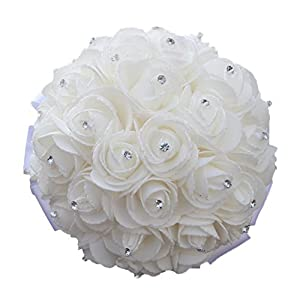 S-ssoy Ivory Cream PE Podwer Rose Bridal Bouquets Holding Artificial Flowers Wedding Bouquets White Ribbon 36