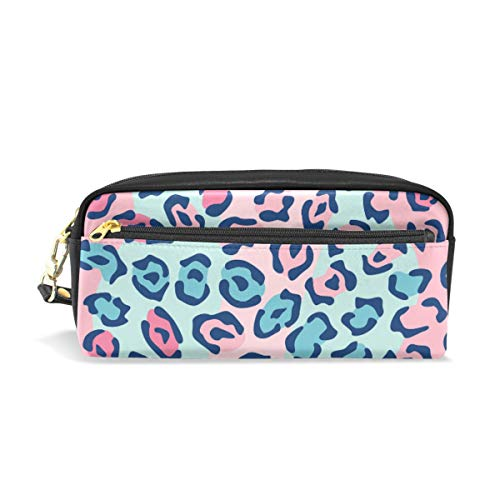 Pencil Case Spotted Cat Blue Leopard Skin Large Capacity Pen Bag Stationery Pouch Stationary Case Makeup Cosmetic Bag]()