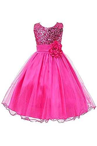 Kids Showtime Flower Girls Summer Sequin Chiffon Special Occasion Party Princess Dress(Hot Pink,6Y)