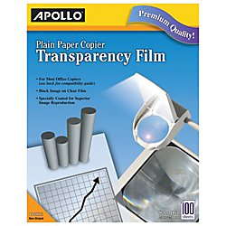 Apollo Plain Paper Copier Film without Sensing Stripe, 8.5 x 11 Inches, Clear Sheet and Black Image, 100 Sheets per Box (Professional Transparency Film)