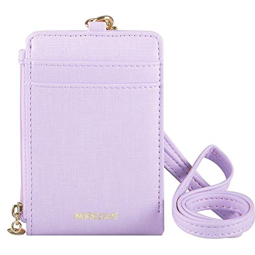 Indressme Womens Cute Candy Color Bifold ID Badge Holder with Lanyard Wallet (Lanyard Wallet)