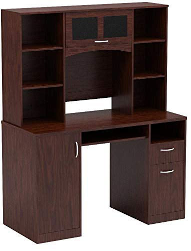Landon Desk with Hutch, Cherry by OfficeMax