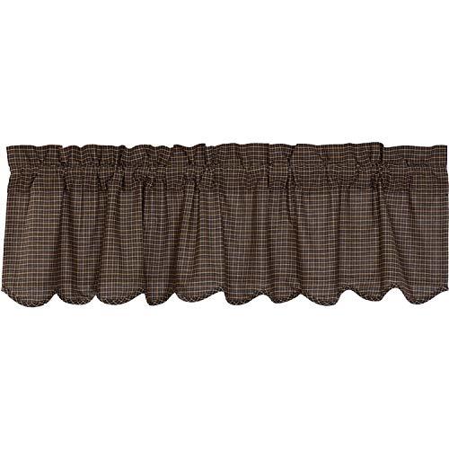 VHC Brands Primitive Kitchen Curtains Prim Grove Plaid Rod Pocket Cotton 20x60 Valance, Country Black