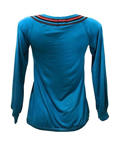 La Collo Top Maglietta Blu Maglia Manica Lunga Donna Righe Conchiglia A Tessuto Cotone r8YqUwrxE