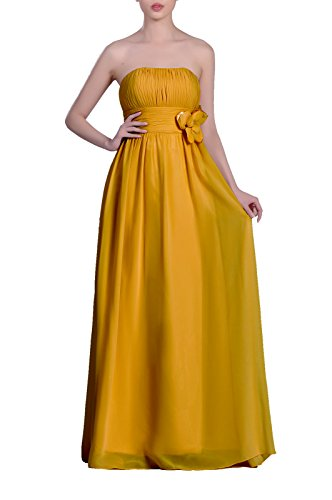 Women's Chiffon Dress Sunbeam Strapless A Line Adorona Long UanZwqUf