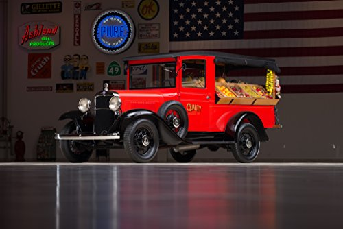 Chevrolet Independence Canopy Express (1931) Truck Print on 10 Mil Archival Satin Paper Red Front Side Static View 16