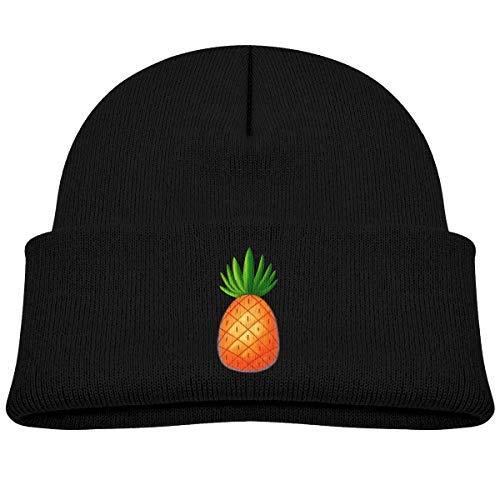 RS-pthr2 Infant Toddler Baby Kids Knitted Beanies Hat Pineapple Print Winter Hat Knitted Skull Cap for Boys Girls Black -