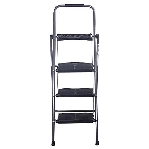Wakrays HD 3 Step Ladder Platform Folding Stool 330 LBS Capacity Space Saving w/Tray - Access Steel Ladder