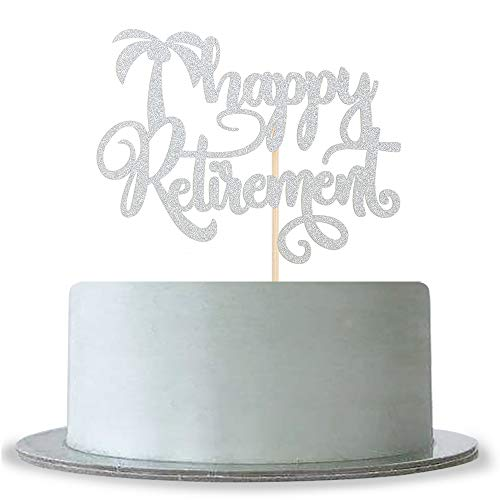 - Happy Retirement Cake Topper with Tree Silver Glitter Retirement Party Supplies Decoration