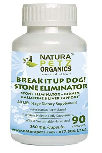 Natura Petz Break It Up! Stone Eliminator (All Types), Kidney, Gallstone and Liver Support for Pets, 90 Capsules, 350mg Per Capsule by Natura Petz