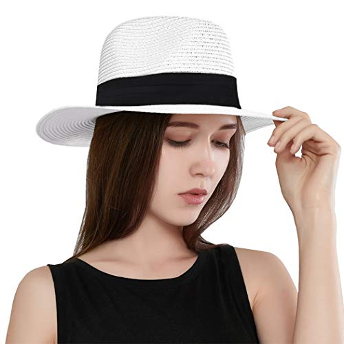(Taylormia Womens UPF 50+ Wide Brim Panama Straw Hat Foldable Fedora Beach Sun Hat White)