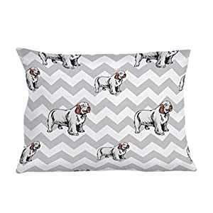 Style In Print Personalized Pillow Case Clumber Spaniel Dog Gray Zigzag Polyester Pillow Cover 20INx28IN Custom Text Here Set of 2 30