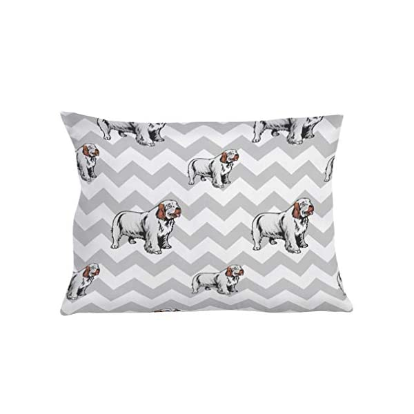Style In Print Personalized Pillow Case Clumber Spaniel Dog Gray Zigzag Polyester Pillow Cover 20INx28IN Custom Text Here Set of 2 1