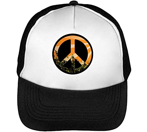 Peace Graphic Styled Symbol Beisbol Negro Gorras Blanco Hombre Weed Snapback qx5wq
