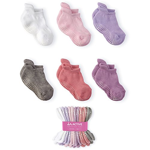 Price comparison product image LA Active Baby Toddler Grip Ankle Socks - 6 Pairs - Non Slip/Skid Covered (Girls, 4-7 Years)