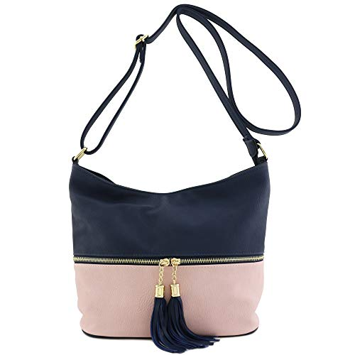 Navy Pink Tassel Bucket Zipper Bag Crossbody BpXIRqc7Z
