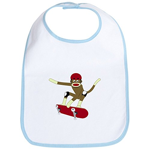 - CafePress - Sock Monkey Skateboarder Baby Bib - Cute Cloth Baby Bib, Toddler Bib