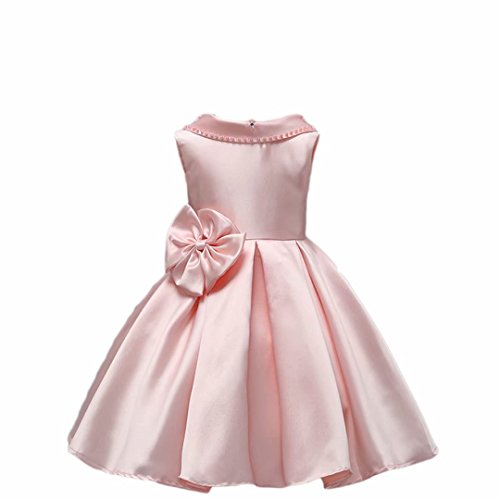AYOMIS Girl's Flower Princess Bridesmaid Pageant Tutu Gown Party Wedding Dress (Apricot,4-5Y)