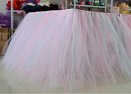 Stuffwholesale Fitted Party Table Skirt Children Party Decoration Table Cloth (Blue+Pink) by Cloth