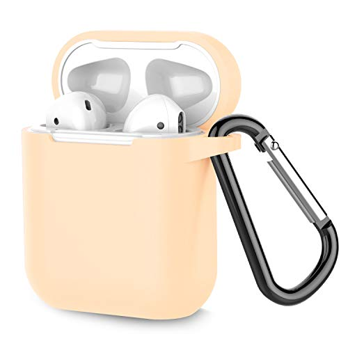 Coffea Airpods Case, AirPods Accessories Shockproof Case Cover Portable & Protective Silicone Skin Cover Case for Apple Airpods 2 & 1 (Front LED Not Visible) - Apricot